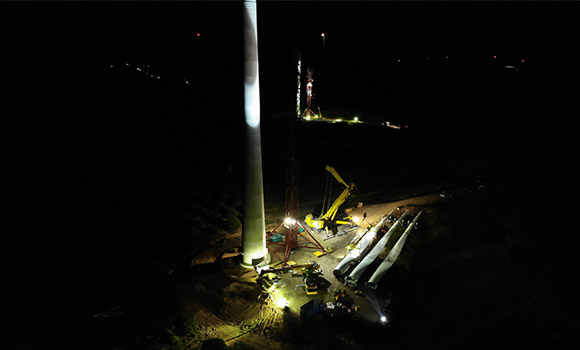 FPT Global wind turbine installation at night